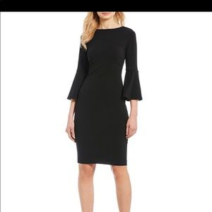 Calvin Kiein- Black Sheath, 3/4 Bell Sleeve Dress